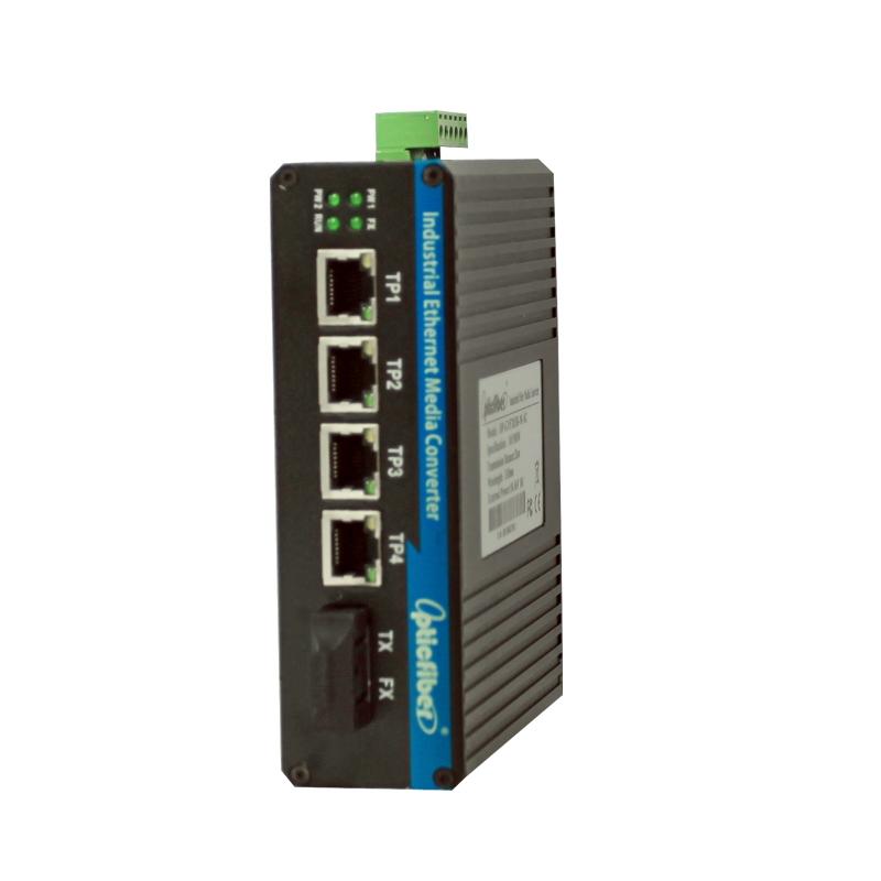 百兆1光4电工业级光纤收发器