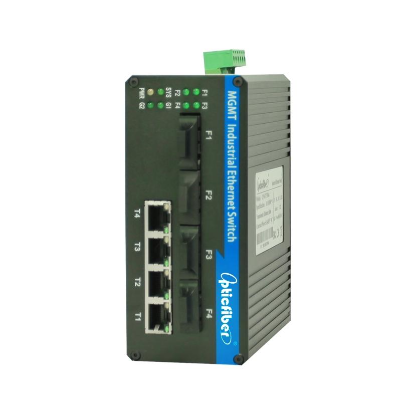 管理型百兆4光4电工业级以太网交换机